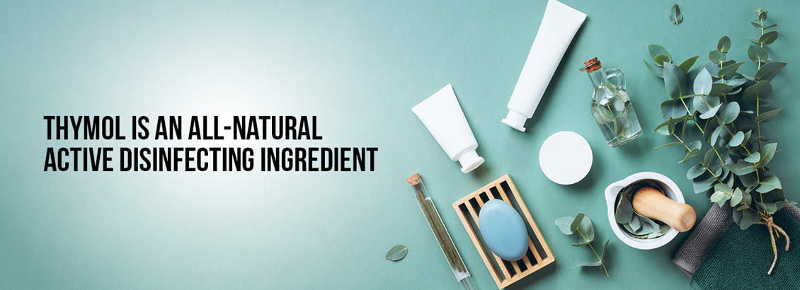 Image of Products Containing Botanicals, With a Caption That Reads, 'Thymol Is an All-Natural Active Disinfecting Ingredient'
